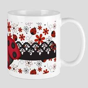 Charming Ladybugs and Red Flowers Mugs